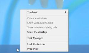 Right click on the Taskbar